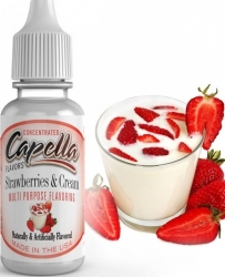 Příchuť Capella 13ml Strawberries and Cream (Jahody s krémem)