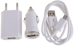 Univerzální nabíječka 3v1 Micro USB 1A White