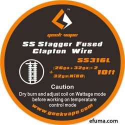 5m GeekVape SS Stagger Fused Clapton Wire (26+32GA)x2+32ga